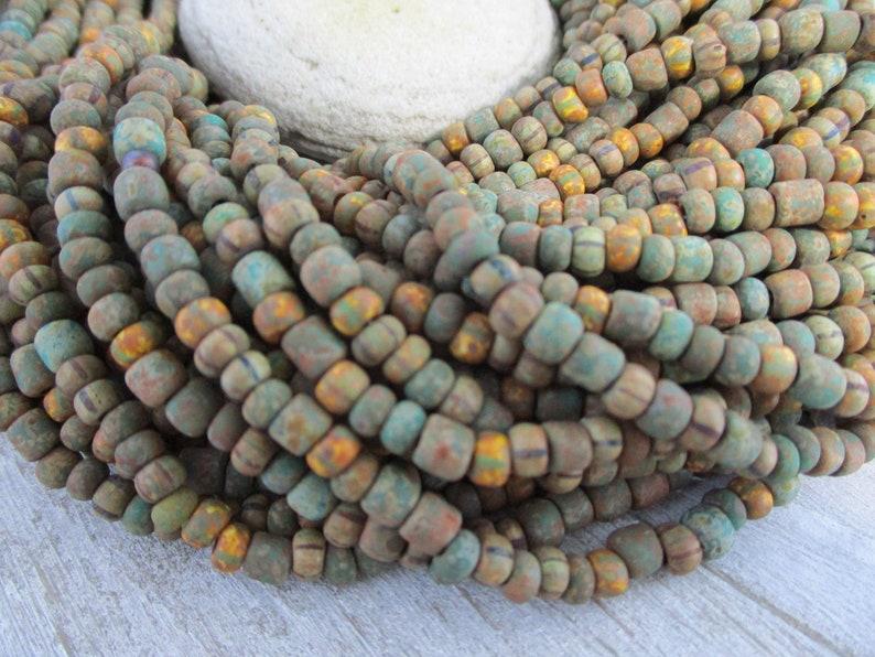 6/0 Rustic Moss Czech Beads Full Strand 200 Beads 4mm Matte image 0