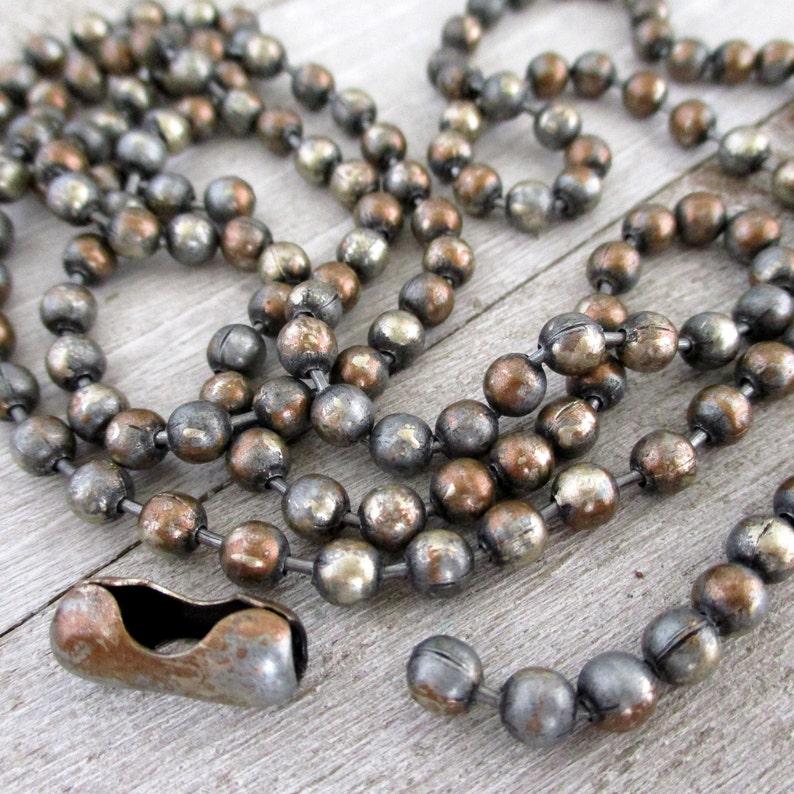4.5mm Ball Chain STEEL MAGNOLIA Patina Grey Bronze & White image 0