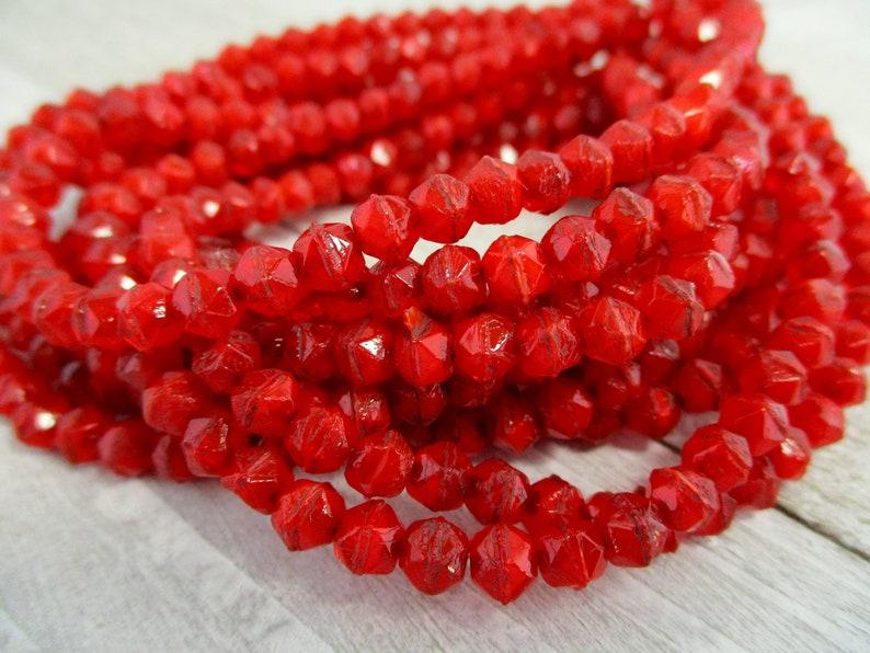 4mm Red Hot Beads English Cuts Czech Glass Beads Strand of image 0