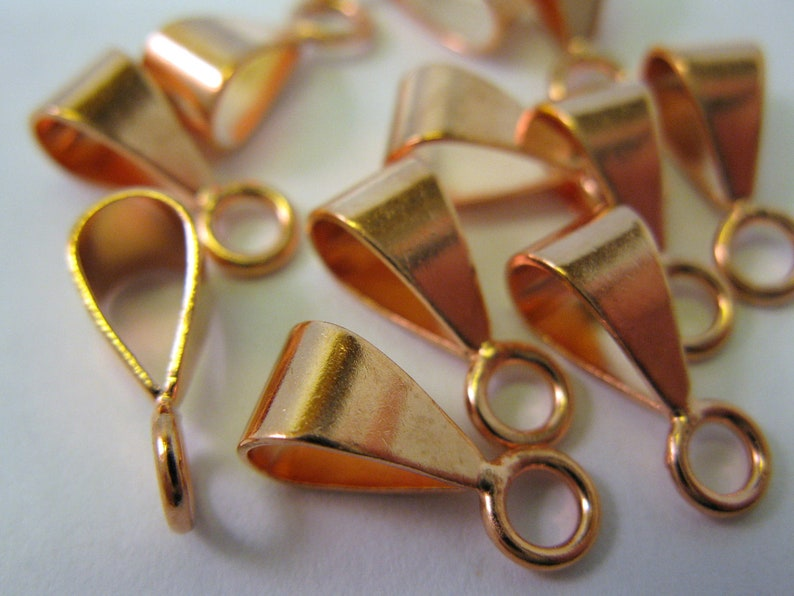 10 COPPER BAILS 14mm with Closed Rings Ready to Ship image 0