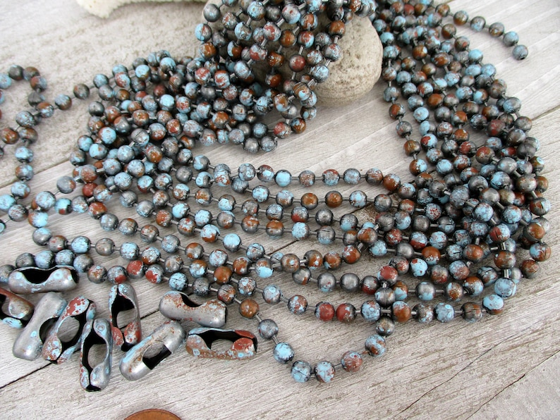 4.5mm Ball Chain OLD ADOBE Patina Grey Turquoise & Rust image 0