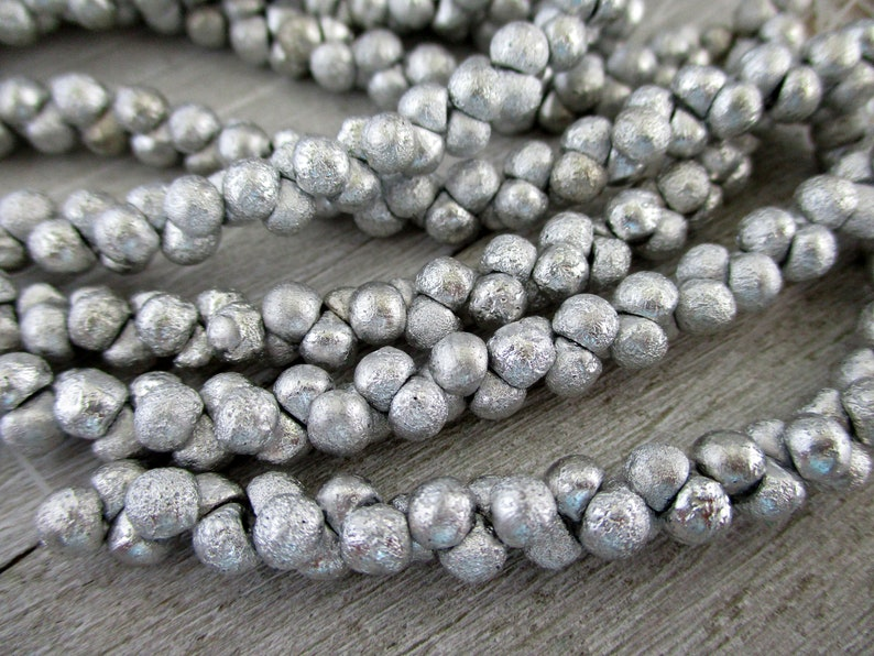 Silver Ore Etched Mushrooms 4x4mm Czech Glass Beads Strand image 0