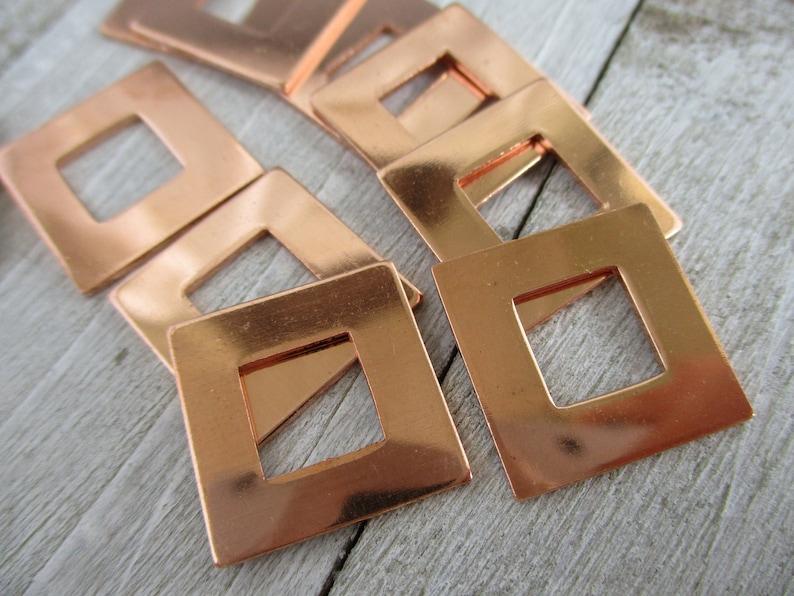 Square Copper Washers  5/8 Inch  18 gauge ImpressArt Premium image 0