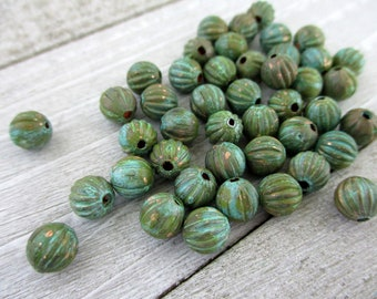 20 VERDIGRIS COPPER 6.3mm Corrugated BEAD with 1.5mm Hole