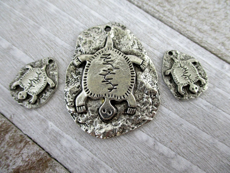 Turtle Petroglyph Charms or Pendant Cast Antique Pewter Cave image 0