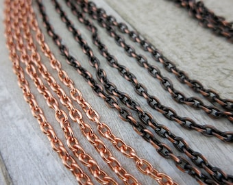 Copper SMALL CABLE Chain, 4.08x2.86mm links, Bulk Chain - No Clasp, Choose Bright or Oxidized and Length, Made in USA