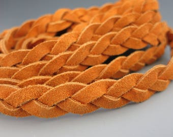 Flat Braided Split Suede, 3 Ply Orange, 11mmx3mm, By the Inch, Bracelet Suede, Suede Cord, Ready to Ship