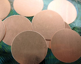 Copper Round Blanks, 1 Inch OD 24 gauge, set of 8, Ready to Ship!