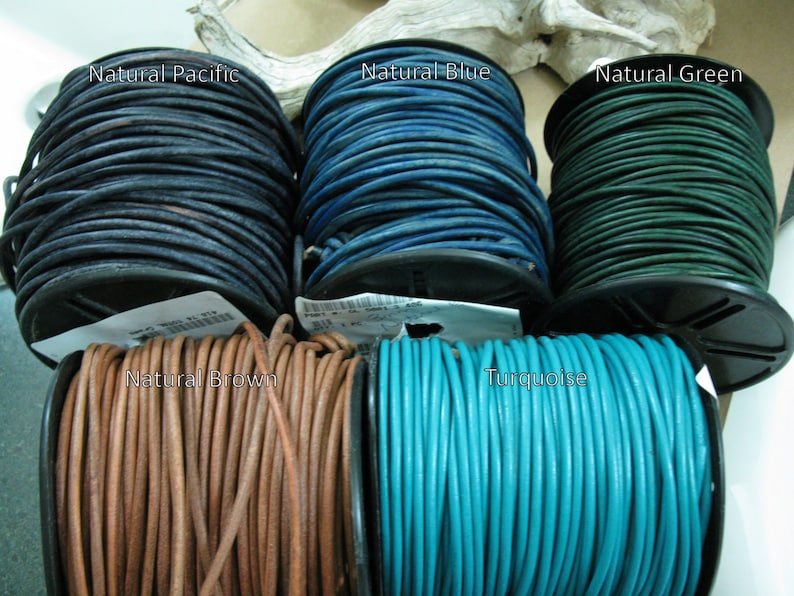 3mm Leather Cord  3 Yards  Blue Green Brown Turquoise image 0