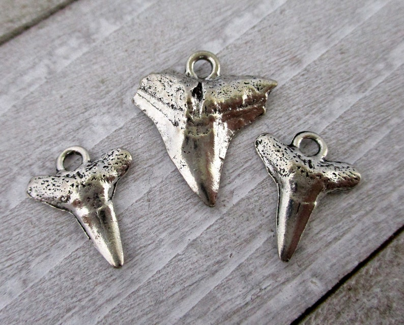 Pewter Shark Tooth Charms and/or Pendant Cast Antique Pewter image 0