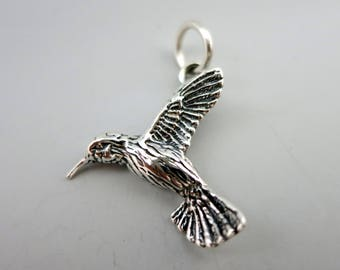 HUMMINGBIRD CHARM, Sterling Silver 18X21mm, Made in USA, Ready to Ship!