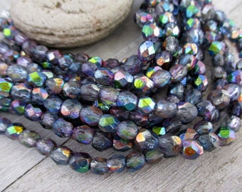 4mm Blueberry Ice Czech Beads, Faceted Fire Etched Crystal, Czech Glass, Strand of 50