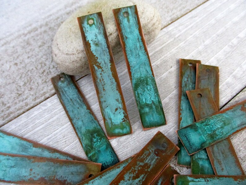 2 Copper Patina Earring Charms Rectangle Verdigris Copper image 0