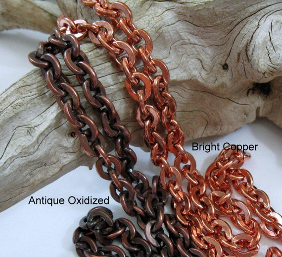 Copper Designer Cable Link Chain by the Foot 5.1 X 7.8 MM Solid Copper Chain