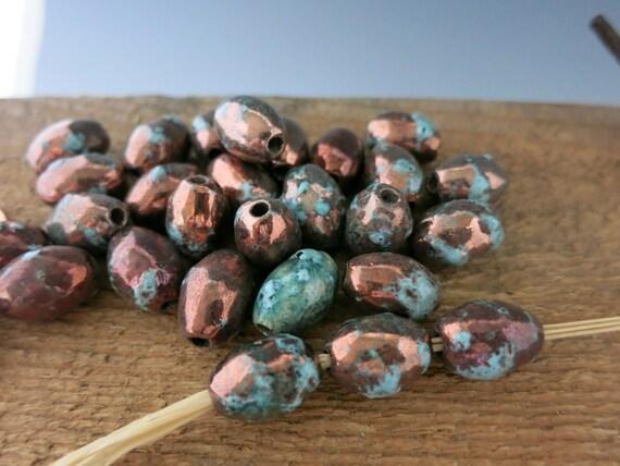 4 Mykonos Meer und Moss Raku ovale 7x14mm 3mm Loch Keramik | Etsy