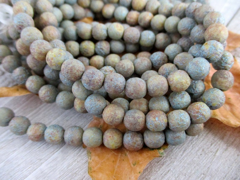 6mm Stone Turquoise Wash Druk Czech Glass Beads Etched Round image 0