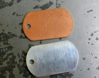 Dog Tag Stamping Blanks, Copper or Aluminum, Set of 4 or more, Ready to Ship!