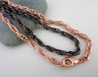 Copper Rope Chain Necklace, Finished Chain, Bright or Oxidized, Lobster Claw Clasp, Choose your length, Made to order in 3 to 5 days