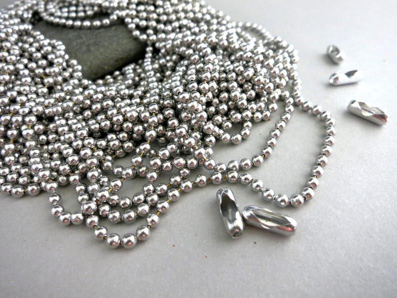 Aluminum Ball Chain 3 ft to 50 ft 2.4mm balls Free image 0