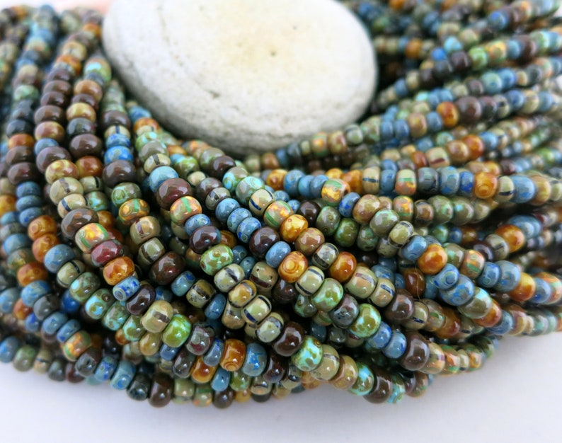 6/0 Old Caribbean Picasso Seed Bead Mix Full Strand 200 image 0