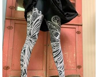 399f0e69c0a69 FILIGREE LEGGINGS ~ Art Nouveau Butterfly TIGHTS black white swirl legwear  foxsavant