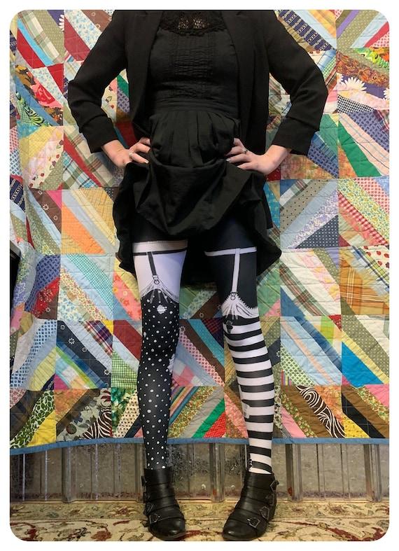 Striped Leggings, PIPPI garter TIGHTS  - faux thig