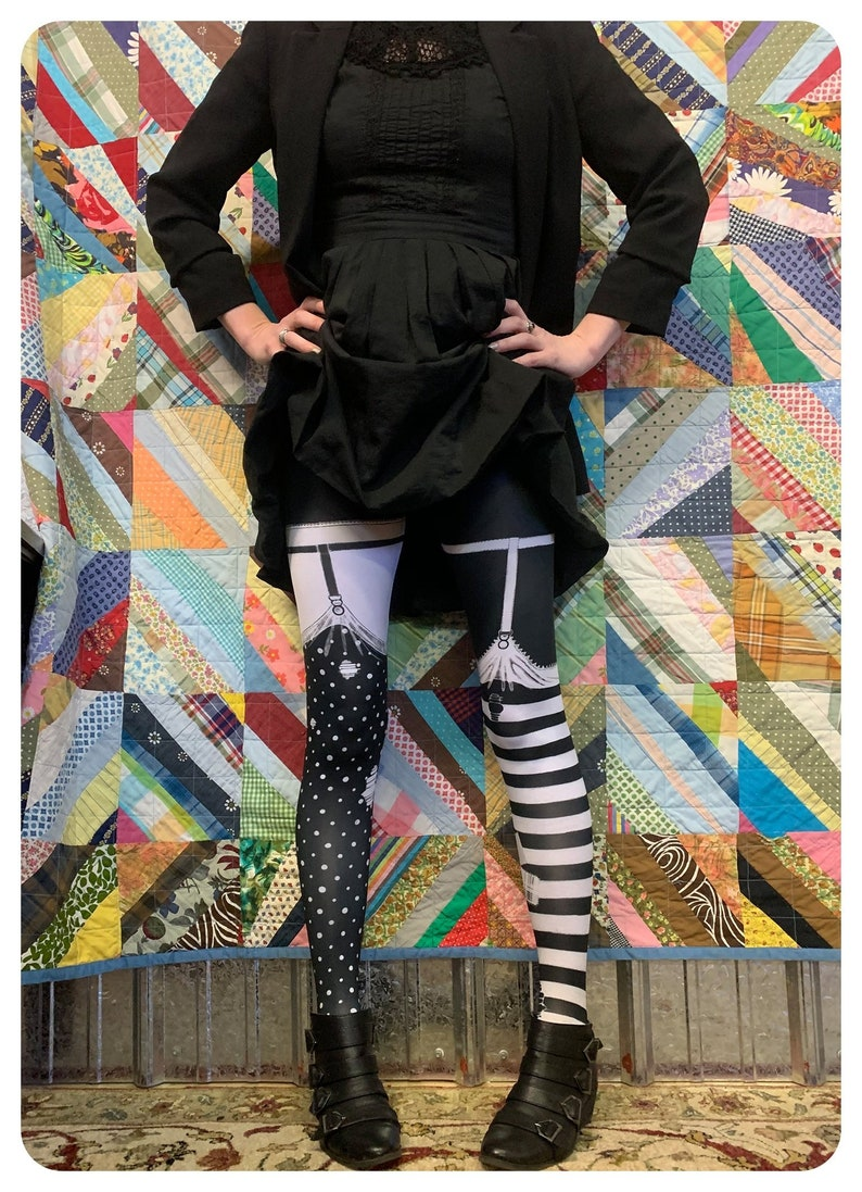 Striped Leggings PIPPI garter TIGHTS   faux thigh high image 0