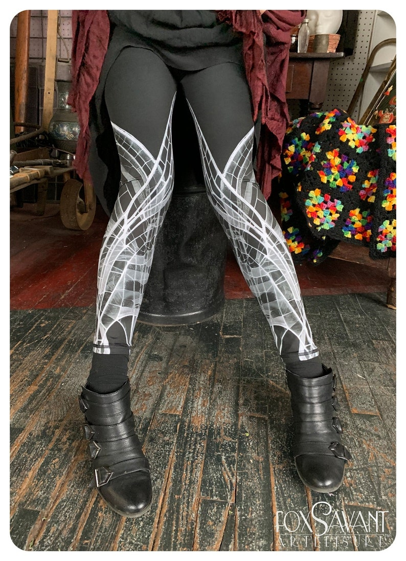 Dark Fairy Xray Wing TIGHTS BLACK and white tights legwear image 0