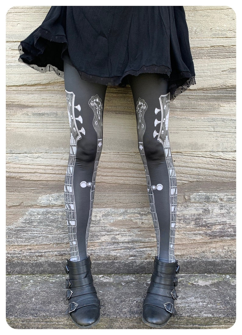 GUITAR LEGGINGS  guitar tights fiddle music tights legwear image 0