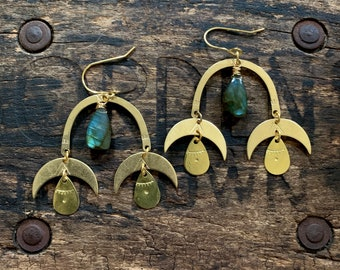 Brass Moon Phase Labradorite Drop Earring. Hammered Stamped Gold Boho Crescent Native American Celestial Zodiac Gypsy Yoga Night