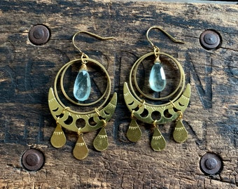 Green Moss Aquamarine Brass Moon Phase Earring. Hammered Stamped Gold Boho Crescent Native American Celestial Zodiac Gypsy Yoga Night Sky