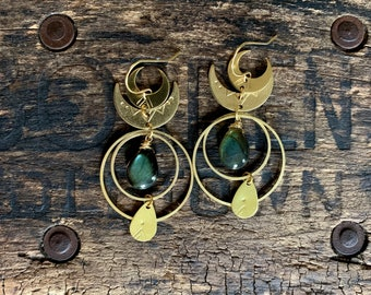 Fiery Labradorite Brass Moon Phase Drop Earring. Hammered Stamped Gold Boho Crescent Native American Phase Celestial Zodiac Gypsy Yoga Night