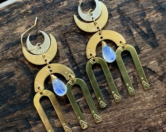 Rainbow Moonstone Brass Crescent Moon Phase Chandelier Earring. Hammered Stamped Boho Native Mystical Magic Celestial Zodiac Gypsy Star Sky