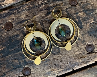 Brass Silver and Labradorite Moon Phase Earrings. Mixed Metal Nickel Free Tribal Gypsy Zodiac Celestial Star Sun Blue Ethereal