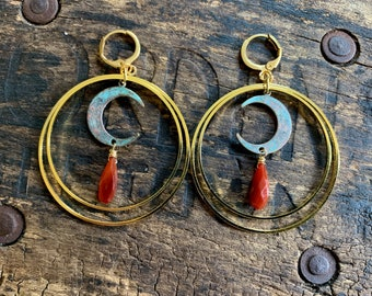 Brass Green Patina Crescent Moons and Rust Red Orange Chalcedony Earrings. Gold Boho Nickel Free Brass Tribal Vintage Southwestern