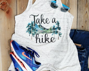 Take a Hike Tank Top/Bella+Canvas Flowy Razerback/Watercolor Mountain Design/Funny Saying Women's Tank Top/Gift/Camping/Juniors/Misses