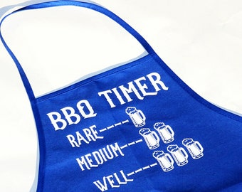 """Funny Bbq/Kitchen Apron-Men's Gift-""""BBQ TIMER""""-Beer Timer-Adult Humor Gift-Grilling Apron-Custom Colors-Father's Day Gift"""