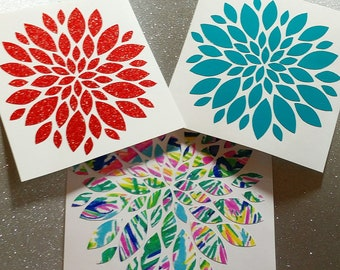 Flower Vinyl Decal Sticker-Glitter,Lilly Pulitzer Inspired-Dahlia-Custom size & color-laptop decal,Yeti decal,Car decal,Phone Decal,Tumbler