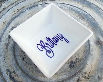 Personalized Ring Dish/Ring Holder/Organization/Customized Jewelry dish /3 inch/Bride-Groom/Engagement Gift/Porcelain/Wedding Gift Idea