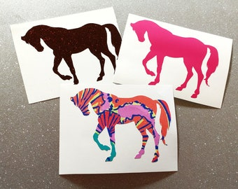 Horse Vinyl Decal Sticker-Glitter,Lilly Pulitzer Inspired-Custom size & color-laptop decal,Yeti decal,Car decal,Phone Decal,Tumbler,
