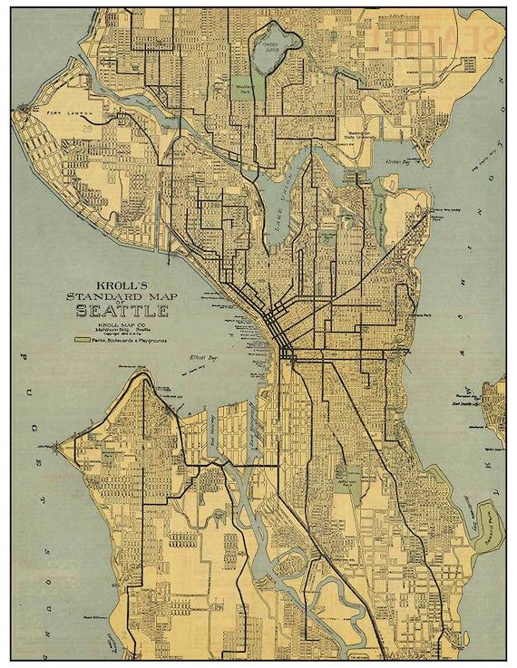 Vintage Map of Seattle Washington digital download | Etsy