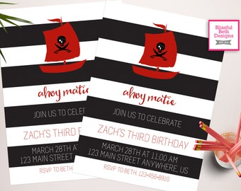 AHOY MATIE! Pirate Birthday Invitation, Printable Pirate Birthday Invitation, Personalized Pirate Invite, Pirate, Ahoy Matie