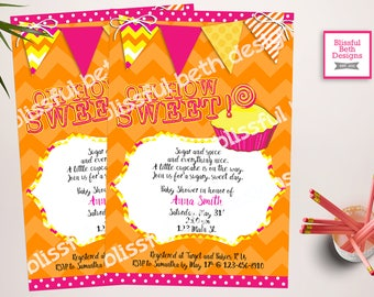 CUPCAKE BABY SHOWER Personalized Cupcake Baby Shower Printable Invitation, Sweet Baby Shower Invitation, Pink and Orange Baby Invitation