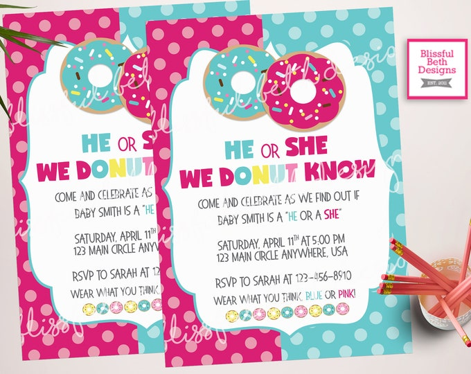 DONUT GENDER REVEAL, Donut Gender Reveal Invitation, Pink and Blue Gender Reveal, Gender Reveal Party, Boy or Girl, We Donut Know Gender