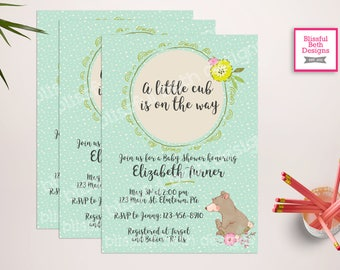 LITTLE CUB SHOWER, Little Cub Baby Shower Invitation, Baby Bear Shower, Woodland Shower, Bear Cub Shower,  Little Cub on the way