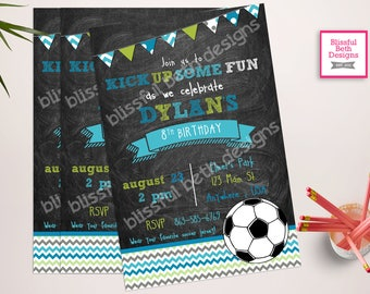 SOCCER BIRTHDAY INVITATION Chalkboard Soccer Birthday Invitation, Printable Soccer Birthday Invitation, Soccer Birthday Invite, Soccer
