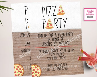 PIZZA PARTY Invitation, Pizza Party, Pizza Birthday Party, Pizza Birthday, Pizza, Pizza Party Birthday, Pizza Box, Modern Pizza Party