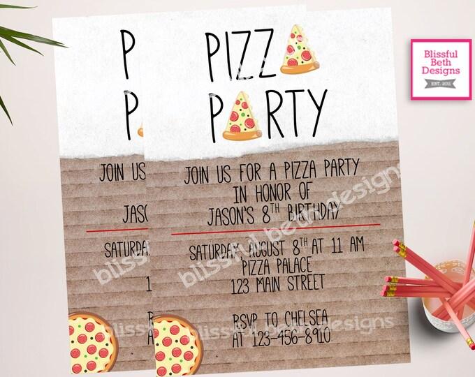PIZZA PARTY Invitation, Pizza Party, Pizza Birthday Party, Pizza Birthday, Pizza, Pizza Party Birthday, Pizza Box, Modern Pizza Party
