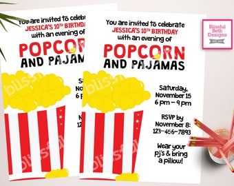 Popcorn and Pajamas Invitation, Popcorn and Pajamas, Sleep Over Invite, Movie Party, Printable Popcorn and Pajamas