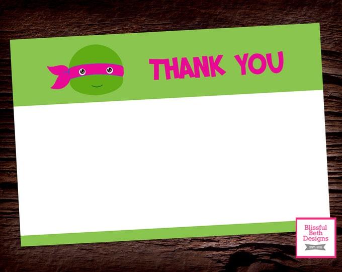 PINK NINJA THANKS, Ninja Turtle Printable Thank You Note, Pink Ninja Turtle Thank You Note, Thank You Note, Teenage Mutant Ninja Turtle Note